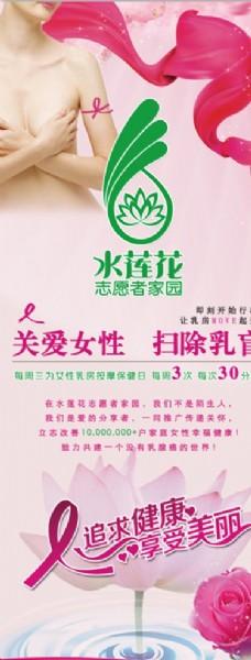 水莲花女性乳房保护宣传易拉宝