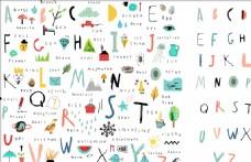 26个字母识字表涂鸦集矢量图