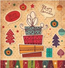 圣诞元素礼盒矢量图下载