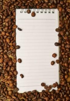 咖啡豆上的记事本