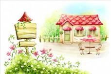 手绘农村房屋