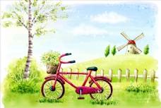 手绘自行车 风车