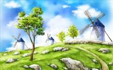手绘荷兰风车