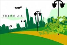 绿色城市剪影