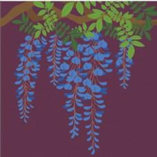蓝色花草背景图