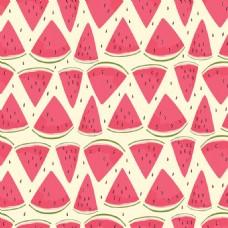 可爱西瓜无缝图案背景矢量