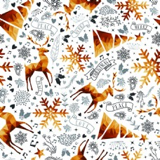 金色圣诞节驯鹿装饰背景矢量素材