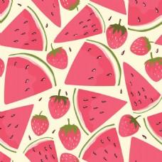 红色可爱草莓西瓜无缝图案背景矢量