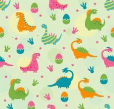 彩色恐龙蛋和恐龙无缝背景矢量