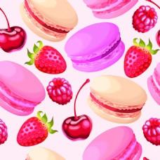 马克龙草莓樱桃素材矢量背景图