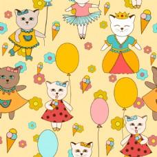 小猫可爱动物图案矢量素材