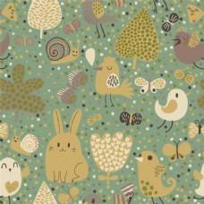 手绘素色花草动物无缝背景图