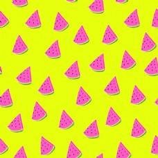 粉色西瓜水果无缝拼接图案矢量背景