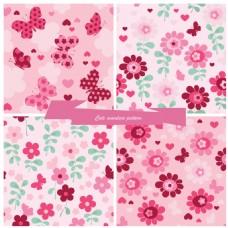 粉红色花朵可爱填充图案矢量背景素材