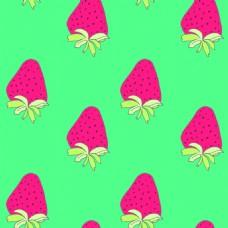 粉红色草莓水果无缝拼接图案矢量背景