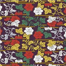彩色花藤树叶无缝背景图
