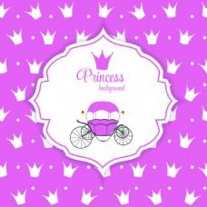 皇冠背景灰姑娘南瓜车矢量图案