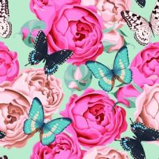 清新花与蝴蝶纹理图案矢量图
