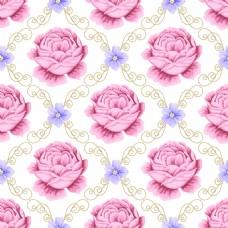 复古粉红色拼接玫瑰花蕾丝矢量背景