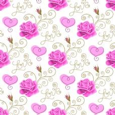 婚礼包装爱心玫瑰花蕾丝矢量背景