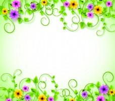 春季绿叶白色背景矢量背景