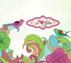 手绘卡通抽象小鸟背景矢量素材