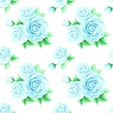 蓝色手绘玫瑰花蕾丝矢量背景