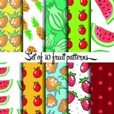 夏日卡通水果图案矢量素材