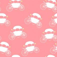 可爱粉色背景灰姑娘南瓜车矢量图案