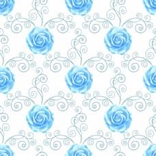 蓝色唯美玫瑰花蕾丝矢量背景