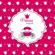 皇冠粉色背景灰姑娘南瓜车矢量图案