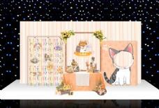香槟色猫奴婚礼猫咪主题婚礼甜品桌摆件区