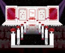 红玫瑰白舞台婚礼舞台效果图