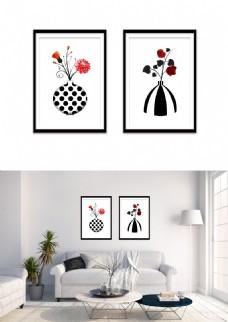 现代时尚黑白红花瓶装饰画