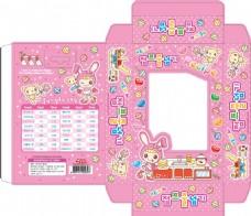 韩国糖果包装设计卡通兔子粉红色