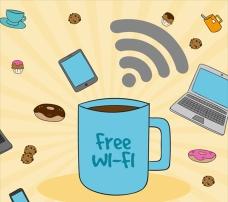 免费wifi咖啡杯背景