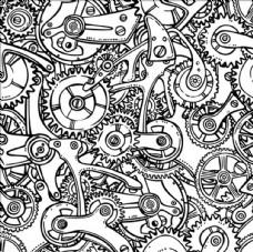 齿轮传动机构无缝模式矢量图