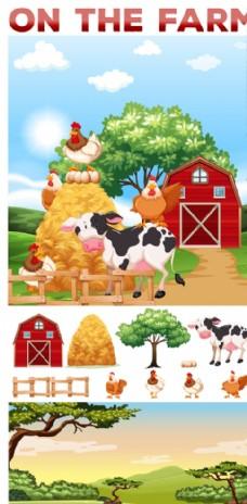 动物生活在农场的插图