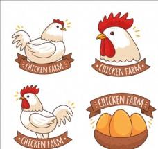 四款手绘鸡肉商标