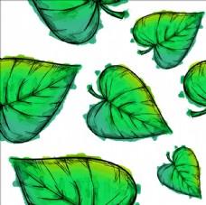綠色的水彩樹葉插圖