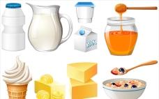 牛奶和蜂蜜的乳制品