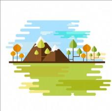 扁平化山脉和树木插图