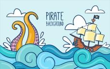卡通海盗船与章鱼