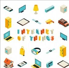 互联网等距立体物体集