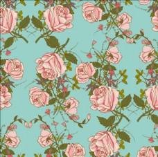 复古怀旧的玫瑰束无缝图案