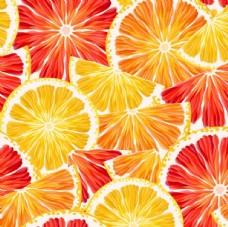 柠檬和西柚切片无缝背景