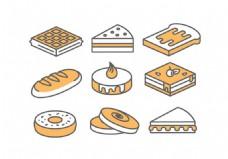 面包蛋糕矢量素材