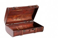 红色实木箱子元素
