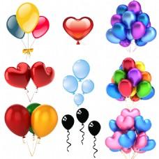 节日庆典海报彩色心形气球图标素材合集