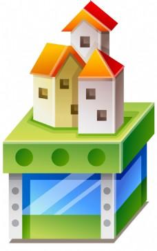 卡通小房子png免扣元素